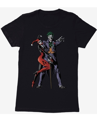 DC Comics Batman Joker And Harley Quinn Womens Black T-Shirt