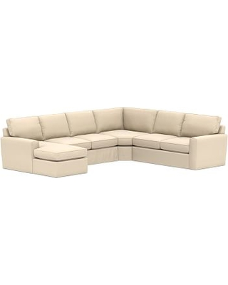 Pearce Square Arm Slipcovered Right Arm 4-Piece Wedge Sectional, Down Blend Wrapped Cushions, Performance Everydayvelvet(TM) Buckwheat