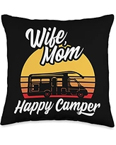 Funny Camping Sayings & Designs Wife Mom Happy RV Camping Holiday Camper Throw Pillow, 16x16, Multicolor