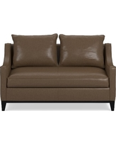 Presidio Loveseat, Standard Cushion Italian Distressed Leather Solid Toffee Leather Solid