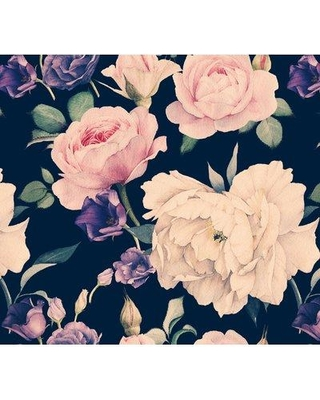 """Bungalow Rose Patson Removable Watercolor Large Floral Dark 10' L x 120"""" W Peel and Stick Wallpaper Roll BI182728"""