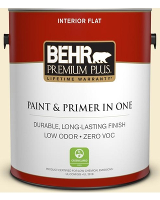 BEHR Premium Plus 1 gal. #380E-2 Lightning White Flat Low Odor Interior Paint and Primer in One