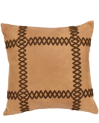 HiEnd Accents Faux Leather 18-inch Throw Pillow with Lacing (Throw Pillows)