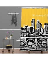 Deny Designs Bird Ave Minneapolis Shower Curtain 13599/13600-shocur Color: Yellow