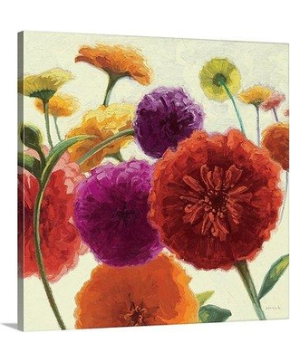 """Great Big Canvas 'Pure Palette Zinnias' by Shirley Novak Painting Print 1052045_1 Size: 8"""" H x 8"""" W x 1.5"""" D Format: Canvas"""