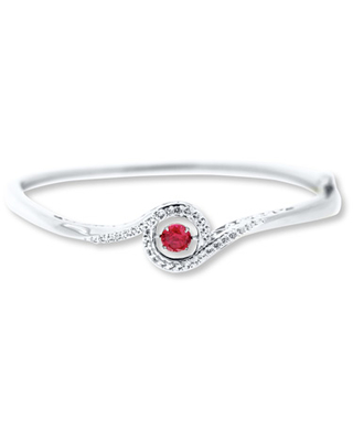 Colors in Rhythm Bangle Lab-Created Ruby Sterling Silver