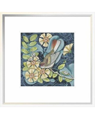 "East Urban Home 'Arts and Crafts Bird II' Graphic Art Print on Canvas ETUM7515 Format: White Framed Canvas Matte Color: White Size: 10"" H x 10"" W"
