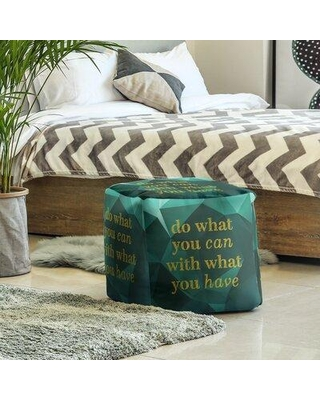 East Urban Home Ottoman EBJX2404 Upholstery Color: Emerald/Gold