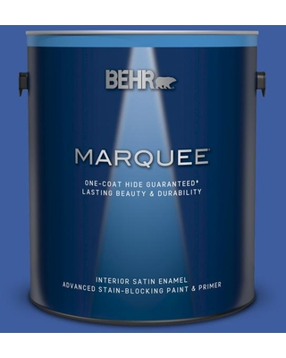 BEHR MARQUEE 1 gal. #BIC-21 Blue Dahlia Satin Enamel Interior Paint and Primer in One