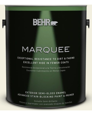 BEHR MARQUEE 1 gal. #GR-W2 Atrium White Semi-Gloss Enamel Exterior Paint and Primer in One
