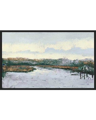 """Highland Dunes 'Along The Water' Oil Painting Print BI163564 Size: 39.5"""" H x 63.5"""" W x 2"""" D Format: Floater Frame"""