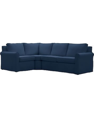 Cameron Roll Arm Slipcovered Right Arm 3-Piece Wedge Sectional, Polyester Wrapped Cushions, Performance Everydayvelvet(TM) Navy