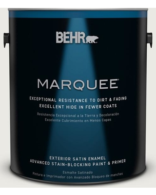 BEHR MARQUEE 1 gal. #PPU24-14 White Moderne Satin Enamel Exterior Paint and Primer in One