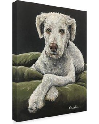 "Winston Porter 'Golden Doodle In Bed' Acrylic Painting Print on Wrapped Canvas W001174158 Size: 19"" H x 14"" W x 2"" D"