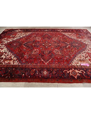 """One-of-a-Kind Hand-Knotted 1970s Heriz Red 8'1"""" x 11'5"""" Wool Area Rug"""
