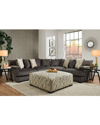 """Butler Collection 182100-3141-SEC-SS 113"""" 3 PC Sectional Sofa with Decorative Pillows Removable Cushions Block Feet Shambala Smoke Fabric"""