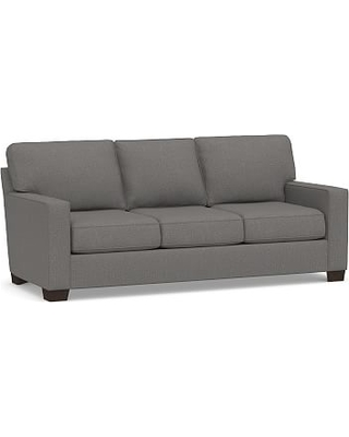 Buchanan Square Arm Upholstered Deluxe Sleeper Sofa, Polyester Wrapped Cushions, Performance Brushed Basketweave Slate