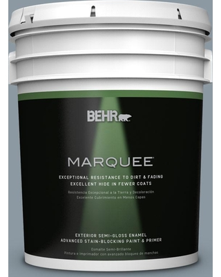 BEHR MARQUEE 5 gal. #N490-4 Teton Blue Semi-Gloss Enamel Exterior Paint and Primer in One
