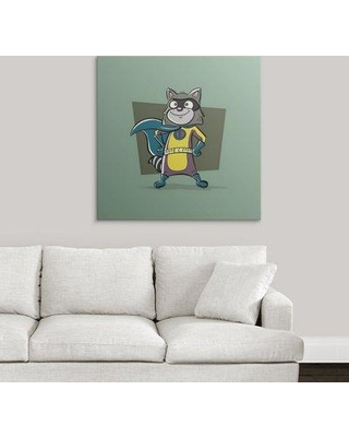"Great Big Canvas 'Raccoon - Superhero Animal Art' Graphic Art Print 2403106_1 Size: 35"" H x 35"" W x 1.5"" D Format: Canvas"