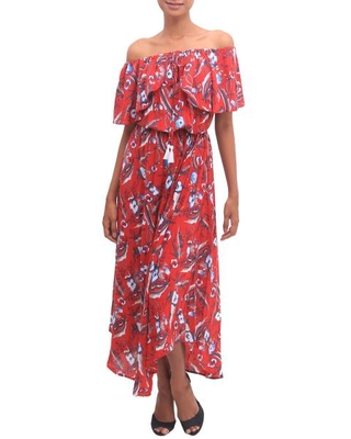 White and Light Blue Floral Print on Red Rayon Midi Dress