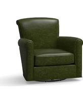 Irving Leather Swivel Glider, Polyester Wrapped Cushions, Leather Legacy Forest Green