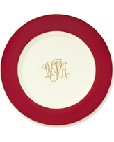 Pickard Color Sheen Charger Plate, Red Gold Monogranned