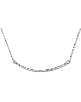 Diamond Curved Bar Necklace 1/4 ct tw Round-cut 14K White Gold