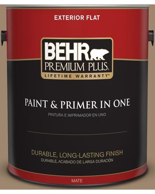 BEHR Premium Plus 1 gal. #700D-5 Toffee Crunch Flat Exterior Paint and Primer in One