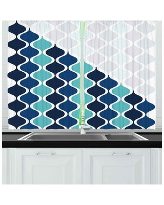 Abstract 2 Piece Kitchen Curtain East Urban Home