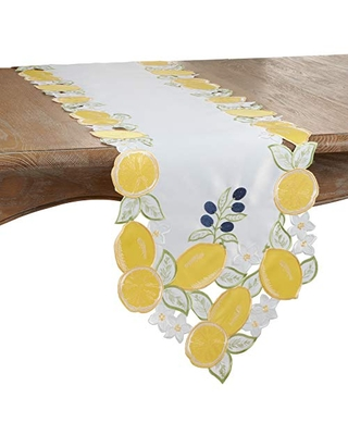 """SARO LIFESTYLE Citron Frais Collection Cutwork and Embroidered Lemon Table Runner, 15"""" x 70"""", Yellow"""