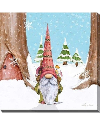 """East Urban Home 'Winter Gnome I' Watercolor Painting Print BF163880 Size: 24"""" H x 24"""" W x 1"""" D Format: Wrapped Canvas"""