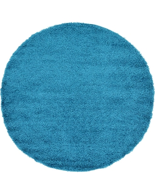Unique Loom Solid Shag Turquoise 6 ft. Round Area Rug
