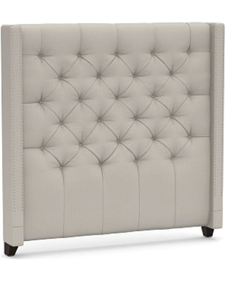 Harper Upholstered Tufted Tall Headboard with Pewter Nailheads, Queen, Performance Heathered Tweed Pebble