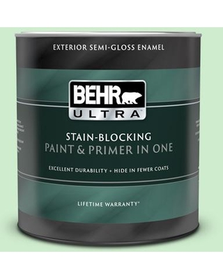 BEHR ULTRA 1 qt. #450A-2 Kiwi Squeeze Semi-Gloss Enamel Exterior Paint and Primer in One