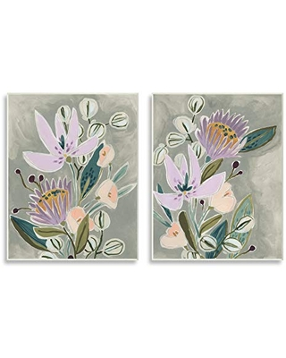 Stupell Industries Abstract Purple Floral Arrangement Neutral Grey, Design by June Erica Vess Wall Plaque, 2pc, Each 10 x 15