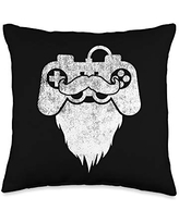 Fathers-Day Pillows Dad Daddy Papa Men Gifts Gamer Beard Dad Cool Video-Game Controller Throw Pillow, 16x16, Multicolor