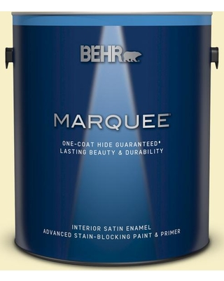 BEHR MARQUEE 1 gal. #400A-1 Candlelight Yellow Satin Enamel Interior Paint and Primer in One
