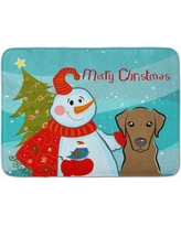 The Holiday Aisle Snowman with Labrador Memory Foam Bath Rug THLA5068