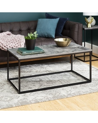 Faux Dark Concrete Mixed Material Coffee Table by Manor Park