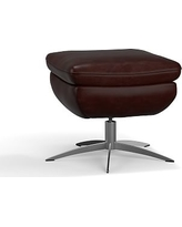 Wells Leather Swivel Ottoman, Polyester Wrapped Cushions, Leather Signature Espresso