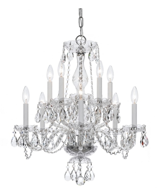 Crystorama Traditional Crystal 10-Light 25 inch Traditional Chandelier in Polished Chrome with Clear Spectra Crystals