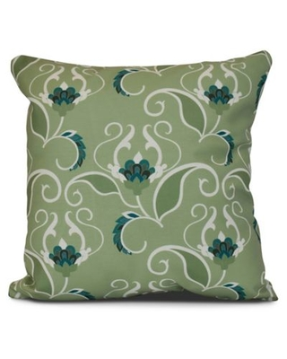 West Indies Floral Square Throw Pillow in Green