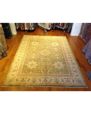 One-of-a-Kind Hand-Knotted 9' x 12' Wool Green Area Rug Aga John Oriental Rugs