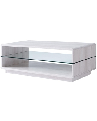 Furniture of America York 47.25 in. L White Oak 16.5 in. H Rectangle Veneer Top Coffee Table with Glass Shelf
