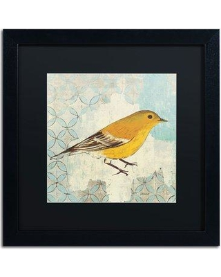 "Trademark Fine Art 'Pine Warbler' by Kathrine Lovell Framed Painting Print WAP0069-B1 Matte Color: Black Size: 16"" H x 16"" W"