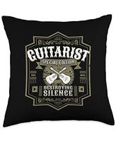 Guitar Accessories Guitarist Guitar Player Design I Destroying Silence Vintage Throw Pillow, 18x18, Multicolor