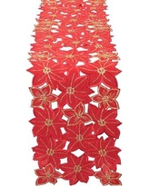 """The Holiday Aisle Festive Poinsettia Embroidered Cutwork Holiday Table Runner THDA5027 Size: 62"""" W x 8"""" L"""