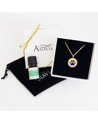Dog Paw Essential Oil Diffuser Crystal Rhinestone Necklace & Organic Essential Oil Aromatherapy Mother's Day Jewelry Gift Set - Gold Necklace & Peppermint Oil