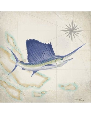"East Urban Home 'Sailfish Map II' Graphic Art Print on Canvas ESUI2500 Size: 37"" H x 37"" W x 0.75"" D"