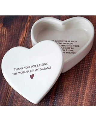 Personalized Mother of the Bride Gift from Groom, Mom Wedding Gift or Mother's Day Gift - Thank You for Raising the Woman of My Dreams - Ceramic Keepsake Heart Box - With Custom Text